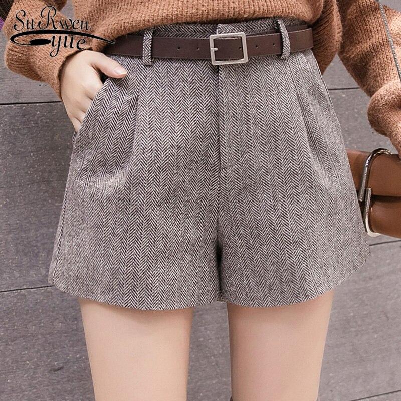 Women Wide Leg Shorts Autumn 2019 New Korean  Women Shorts Casual High Waist Shorts Sashes Pockets Wide Leg Women Shorts 5636 50