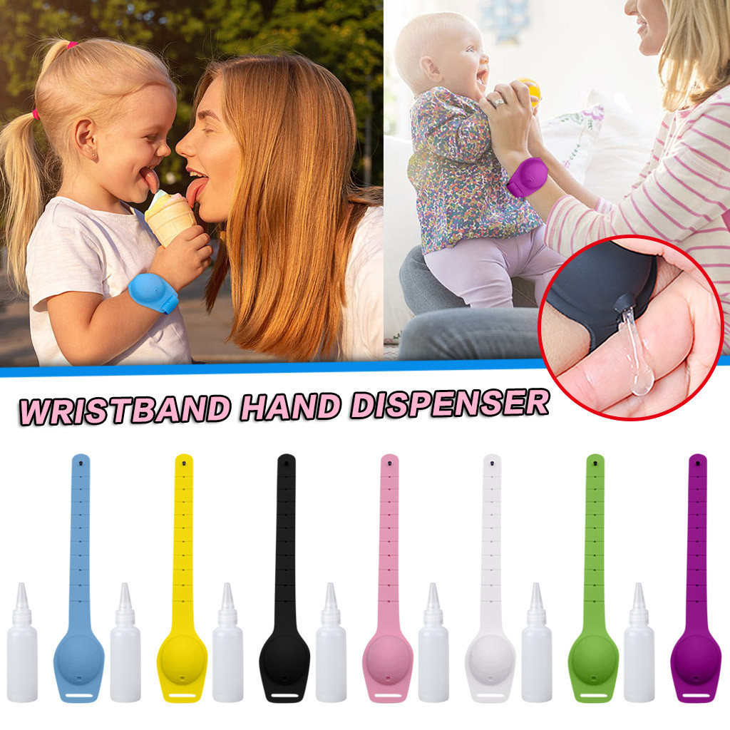 Crianças adultas líquido pulseira mão dispensador gel de lavagem à mão todo sanitizing silicone bombas de distribuição de álcool com garrafa 10ml