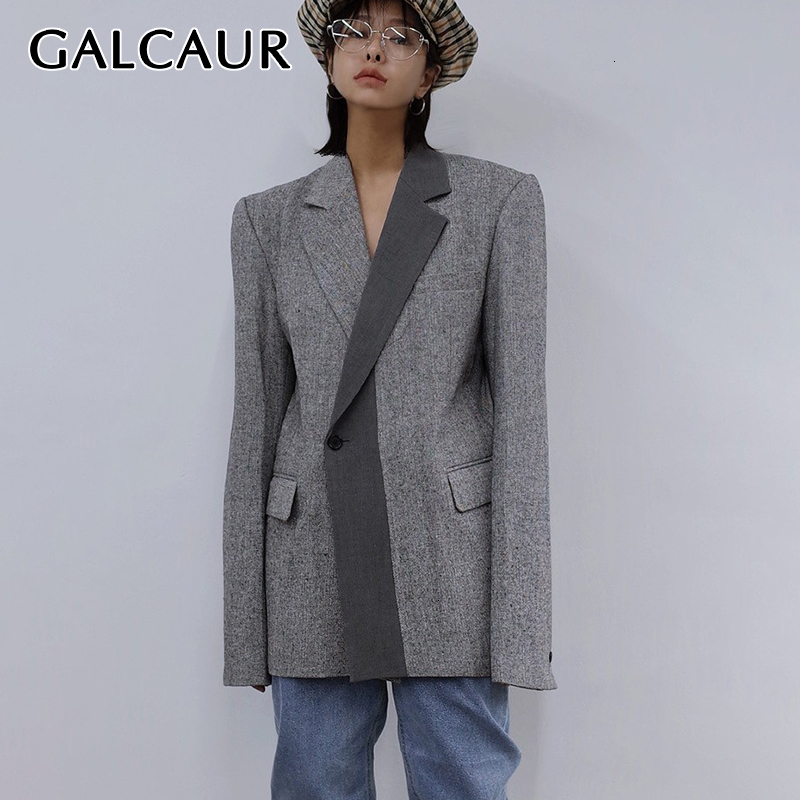 GALCAUR Casual Patchwork Hit Color Women's Blazers Notched Long Sleeve Autumn Suits For Female Clothing Fashion 2019 Tide