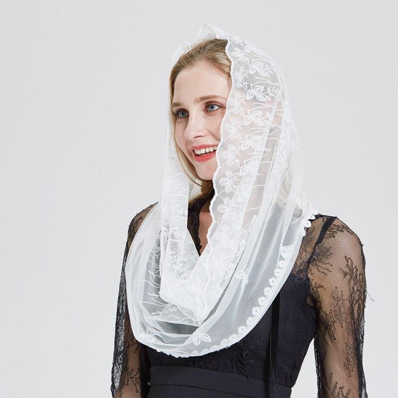Ivory Lace Women Catholic Mantilla Veil for Church Head Cover Latin Mass Velo Mantilla de Novia