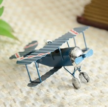 Grocery Mini Wrought Iron Crafts Retro Biplane Model Creative Home Accessories Decoration Gifts