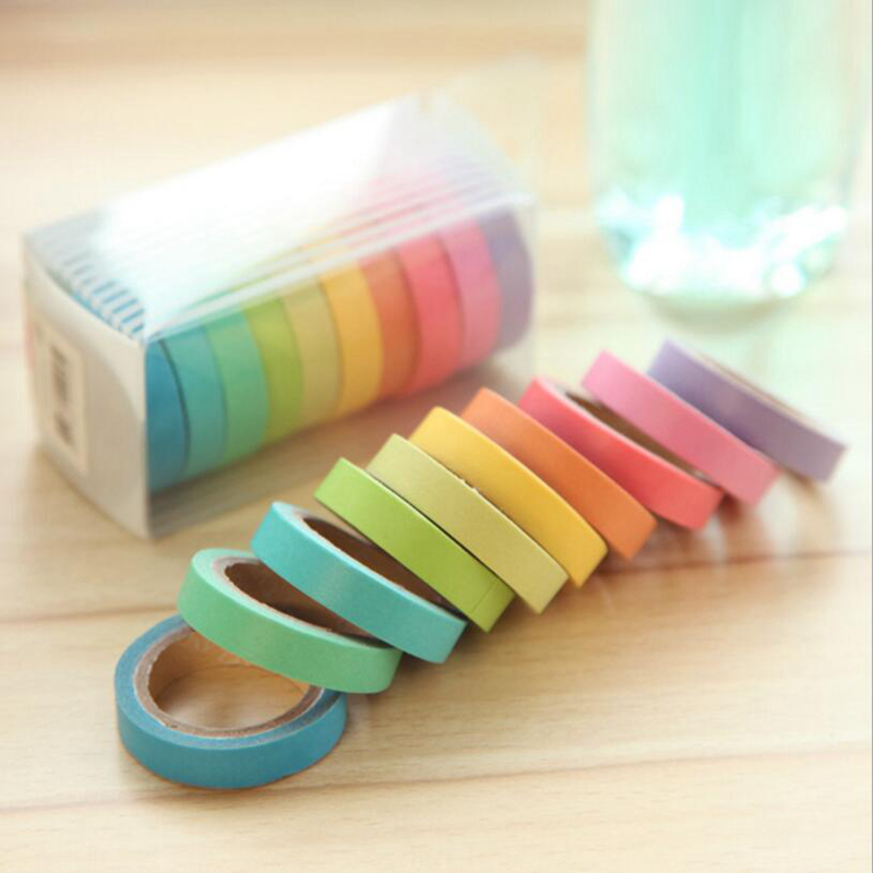 10Pcs/Lot Macarons Masking Washi Tape Set DIY Craft Decor Scrapbooking Tape For Diary Album Stationery School Supplies 10color