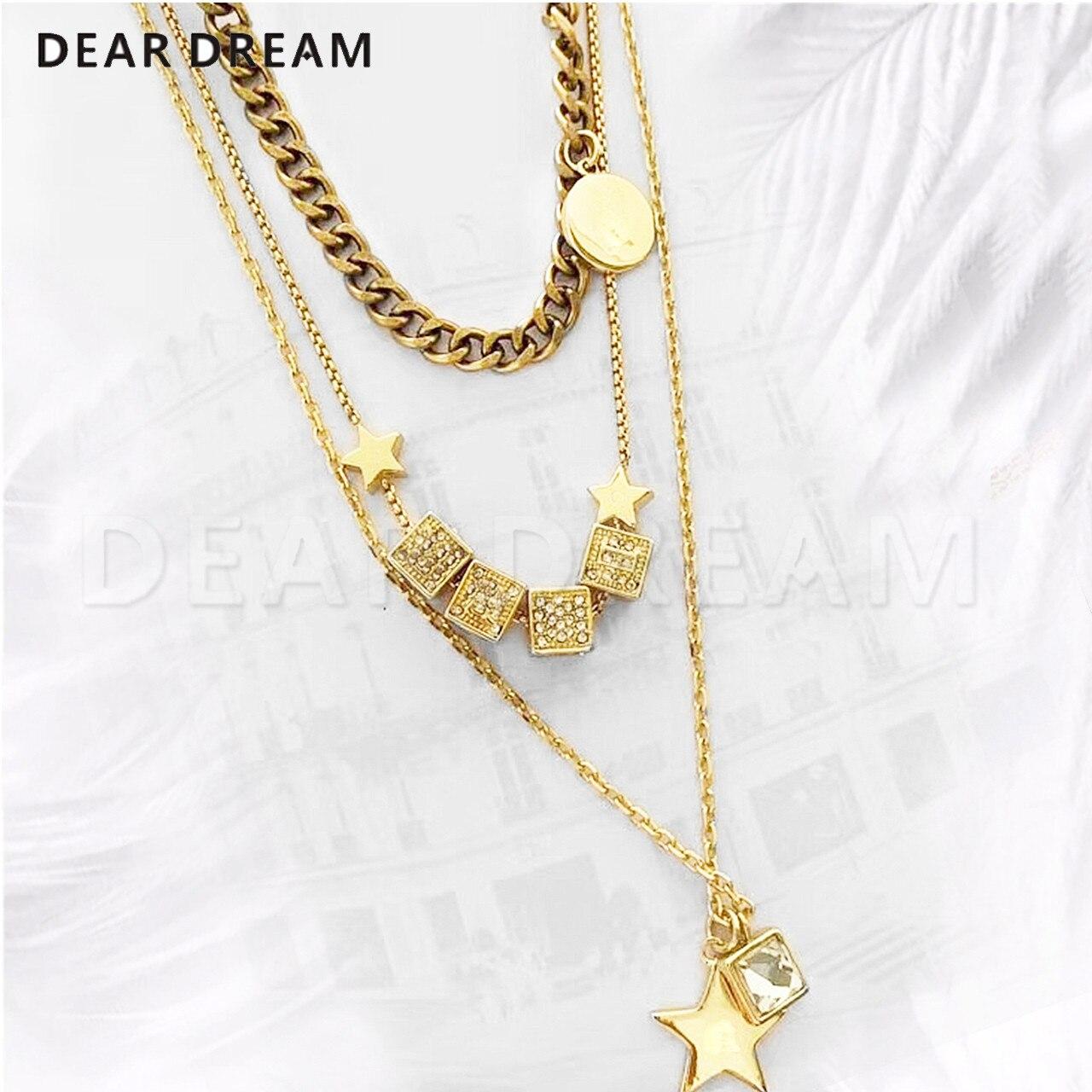 2019 nouveau mode carré série étoile pendentif 3 couche collier de mode de luxe collier bijoux cadeau