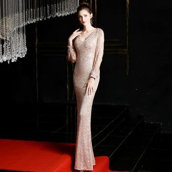 Sexy Vestido De Noche Sequined Evening Dresses Long V-neck Mermaid Party Gowns Robe De Soiree Luxury Floor-length Prom Dress