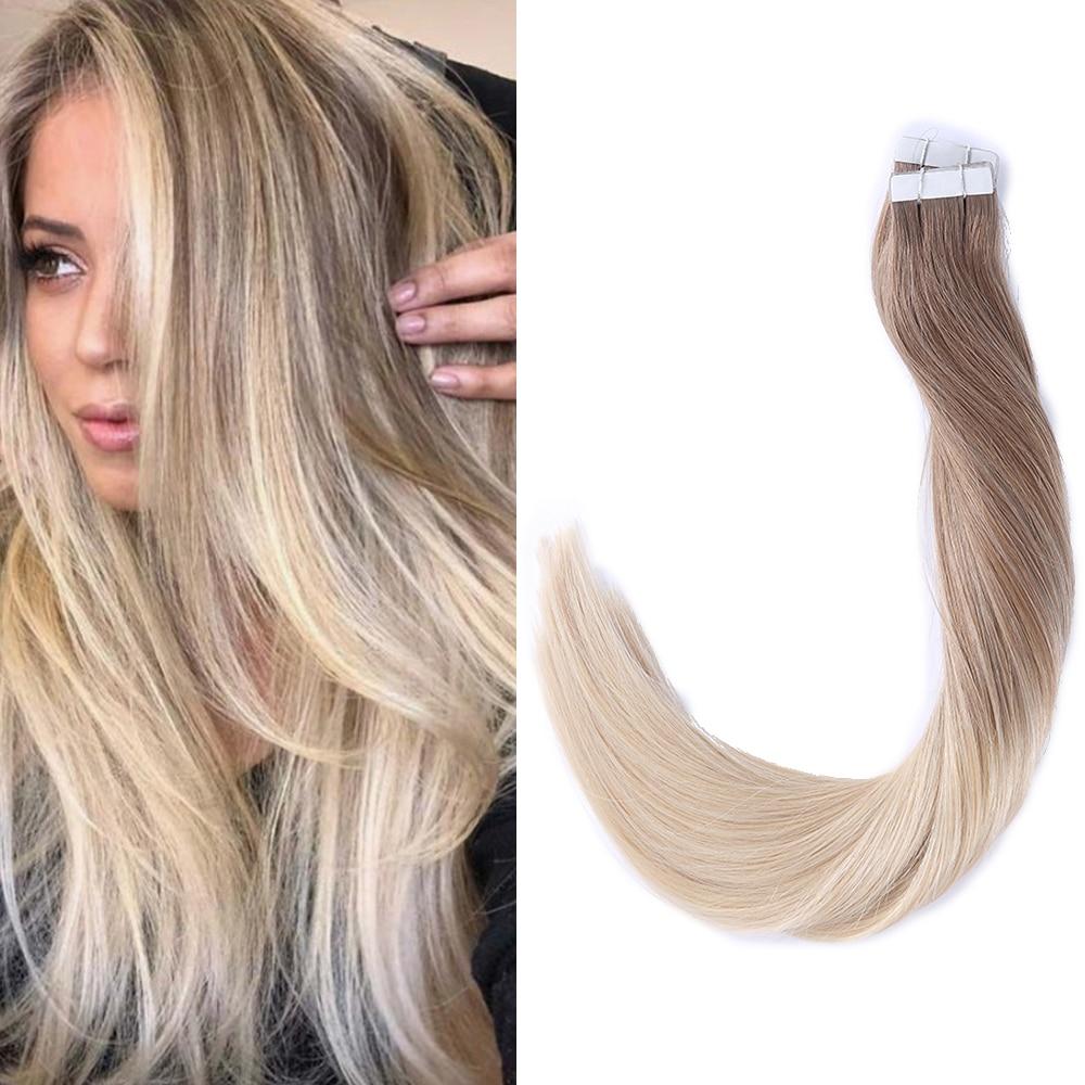Extensions de cheveux 100% naturels Remy sans couture | Cheveux humains, Balayage ombré, bande adhésive, lot de 50g 100g