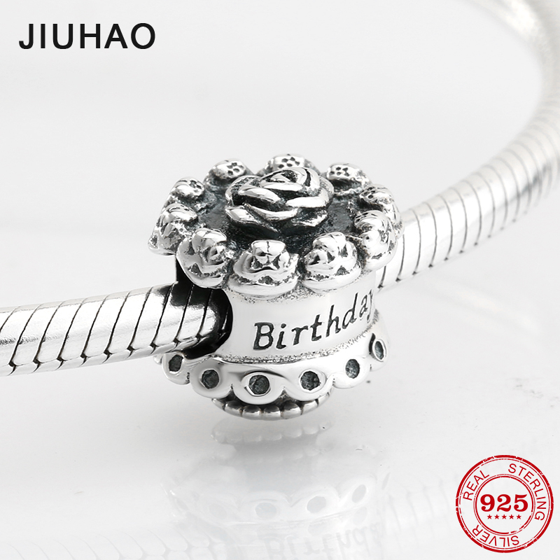Happy 925 Sterling Silver fashion Rose cake beads for birthday Fit Original Pandora Charm Bracelet Jewelry making 2018(China)