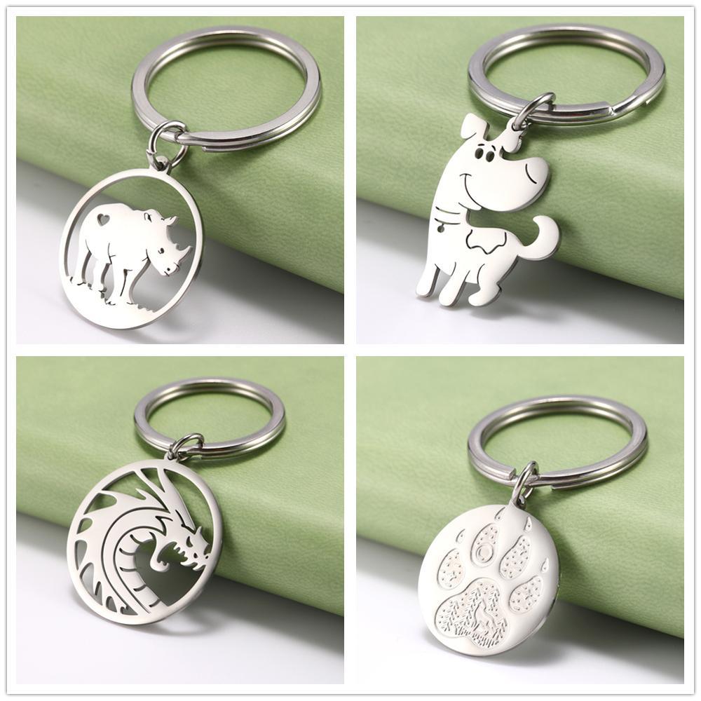 Lemegeton Cute Rhinoceros Dragon Dog keychain Animal Wolf footprints key Chain Stainless Steel Key Ring Holder Boyfriend Gift