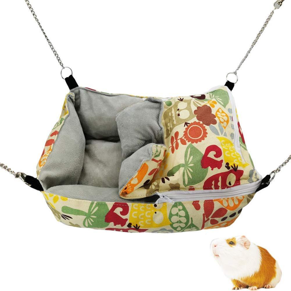Pet Winter Warm Flannel Hamster Chinchilla Embossed Owl Printed Hammock Guinea Rabbit Hanging Bed Cage Accessories Pet Swing