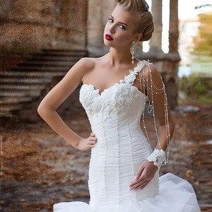 Image 3 - אפליקציות ואגלי פנינים קפל לבן חצוצרת חתונת שמלות עם קפלי חצאית Vestido דה Noiva Sereia נסיכת בת ים שמלות