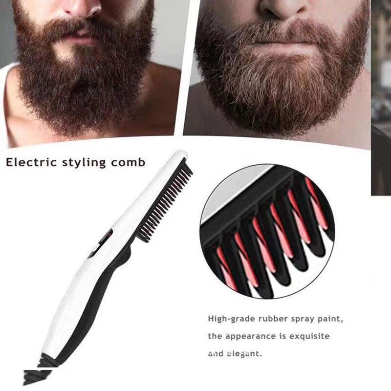 Multifuncional pente de cabelo escova barba straightener