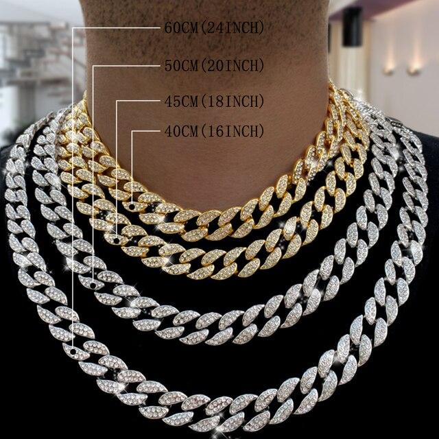 Кубинская цепь Майами мужская, ожерелье из панцирной кубинской цепи, украшение под золото 16 мм 30 дюймов, с фианитами, украшение в стиле хип хоп