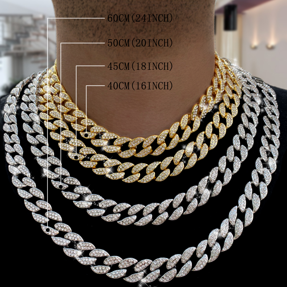 Miami Curb Cuban Chain Necklace 16mm 30inches Gold color IcedOut Paved Rhinestones CZ Bling Rapper Necklaces Men Hip Hop Jewelry