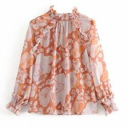 Camicia di Chiffon Mujer De Moda 2020 Coreano Vestiti di Modo Delle Donne Floreale Camicette Francia Magliette e camicette In Chiffon Collo Alto Manica Lunga Top