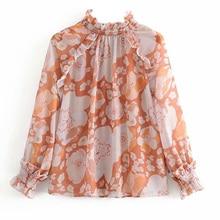 Chiffon Shirt Mujer De Moda 2020 Korean Fashion Clothing Women Floral Shirts France Tops Chiffon Turtleneck Long Sleeve Top
