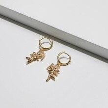 Коми мода классический золотой Купидон солнце сердце сглаза Фламинго Кокосовые серьги в виде дерева для женщин популярные серьги ювелирные изделия подарок A0533