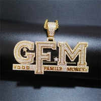 Iced Out Letters Pendant Necklace New Arrival God FAMILY MONEY AAA Zircon Men's Charms Necklace Hip Hop Jewelry