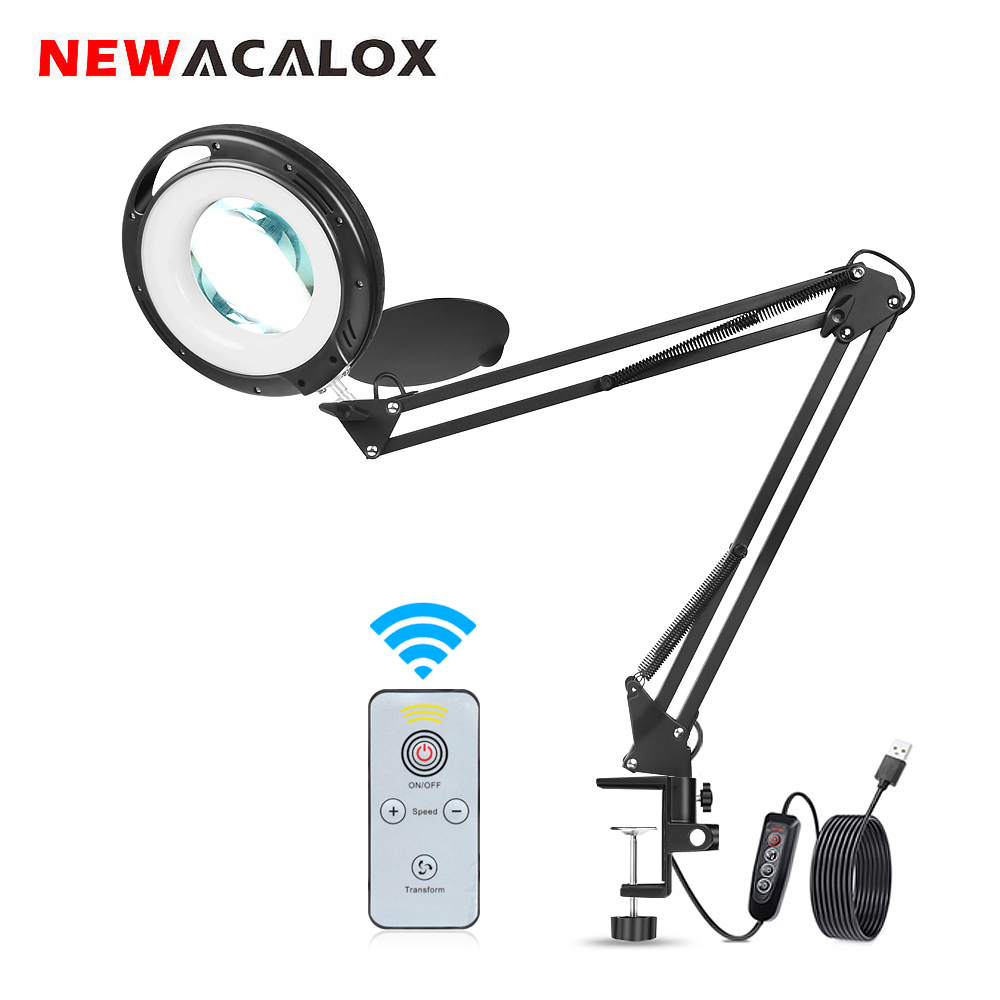 NEWACALOX 5X Magnifier Wireless Remote Control LED Lamp 3 Adjustable Lights Color Suitable for Reading crafts Hobby DIY Welding