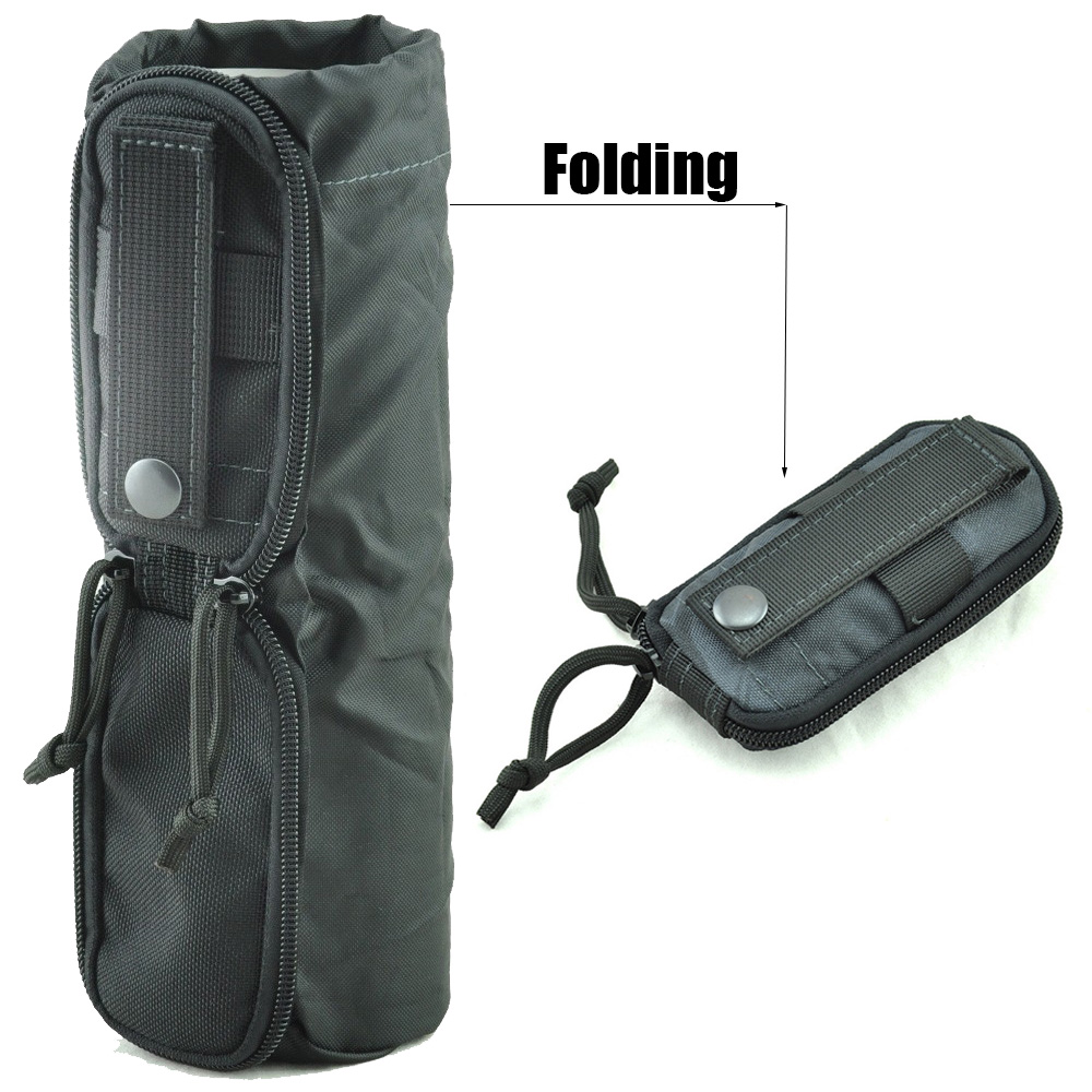 Molle Folding Water Bottle Bag 1000D Military Combat Tactical Dump Drop Kettle Bag Hiking Hunting Water Bottle Pouch Carry Bag