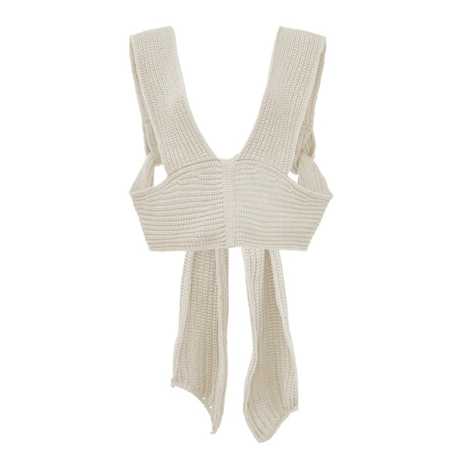 [DEAT] irregular collar solid wool sleeveless bandage top with belt women sexy style mall gothe y2k clothes 2021 summer GX428 6