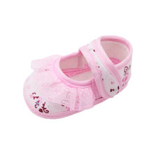 2019 Fashion Print Baby Girl Cotton Soft Shoes Flower Leather Fashion Toddler First Walkers Kid Shoes+1PC Hairband all Seasons(China)