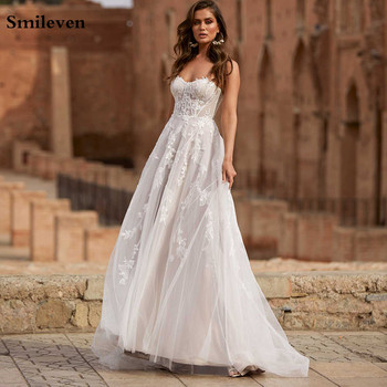 Smileven Lace Wedding Dresses Sweetheart Neck Appliques A Line Bride Dress Princess Wedding Gown Free Shipping robe de mariee front slit appliques wedding dresses 2019 off the shoulder a line chiffon bride dress free shipping wedding gown robe de mariee