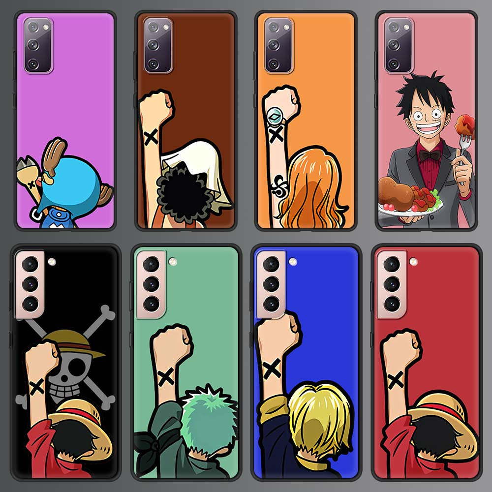 Cute Anime One Piece Luxury Phone Case For Samsung Galaxy S20 FE S10 Plus S21 Ultra S8 S9 Plus S10e Soft Silicone Black Cover
