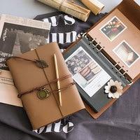 Vintage PU Leather Travelers Notebook Black Paper Spiral Notebook A5 Kraft Card DIY Album Travel Journal Notebook