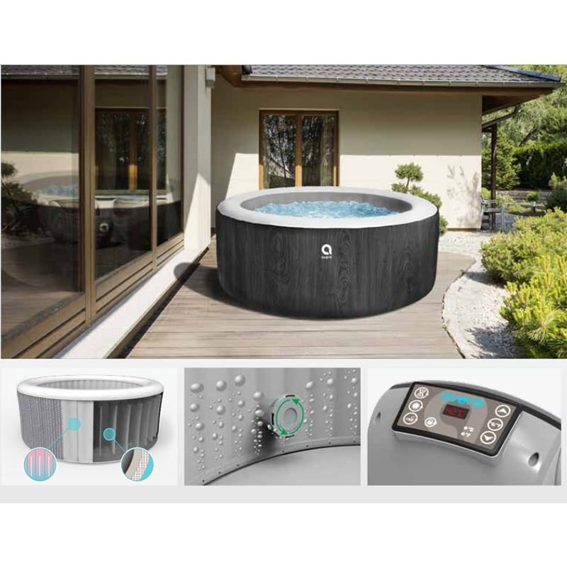 Adjustable Temperature Massage Bathtubs Wood Grain Round Air Spa Tubs Whirlpools Bubble Outdoor Hot Water Inflatable Bathtubs 3