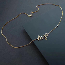 TIANRO 925 sterling silver personalized name pendant gold plated alphabet necklace ladies wedding chain necklace jewelry