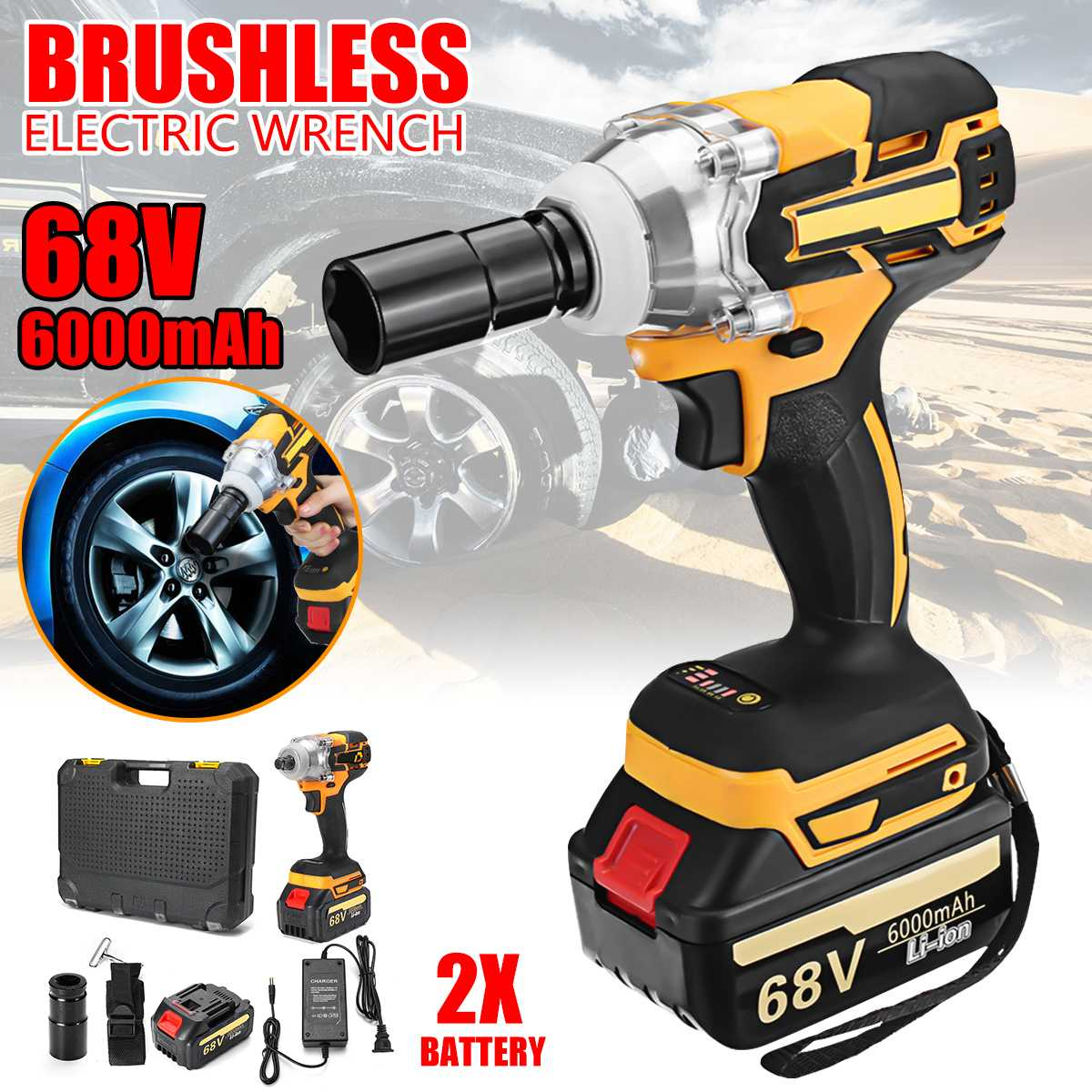 Drillpro Electric Wrench 68V 6000mAh 2 Batteries Brushless Cordless Drive 380 N.M Hand Drill Car Socket Electric Impact Wrench