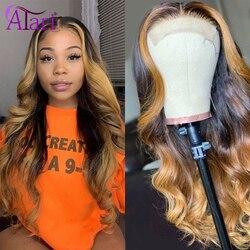 Ombre brązowy peruka 13X4 HD koronkowa peruka peruka z lokami Indian kolorowe peruki z ludzkich włosów Virgin cena hurtowa peruki dla kobiet