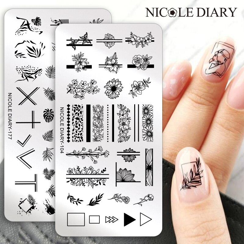 Трафареты NICOLE DIARY для стемпинга ногтей, пластины из нержавеющей стали с геометрическим рисунком цветов, листьев, для создания штампов «сдел...