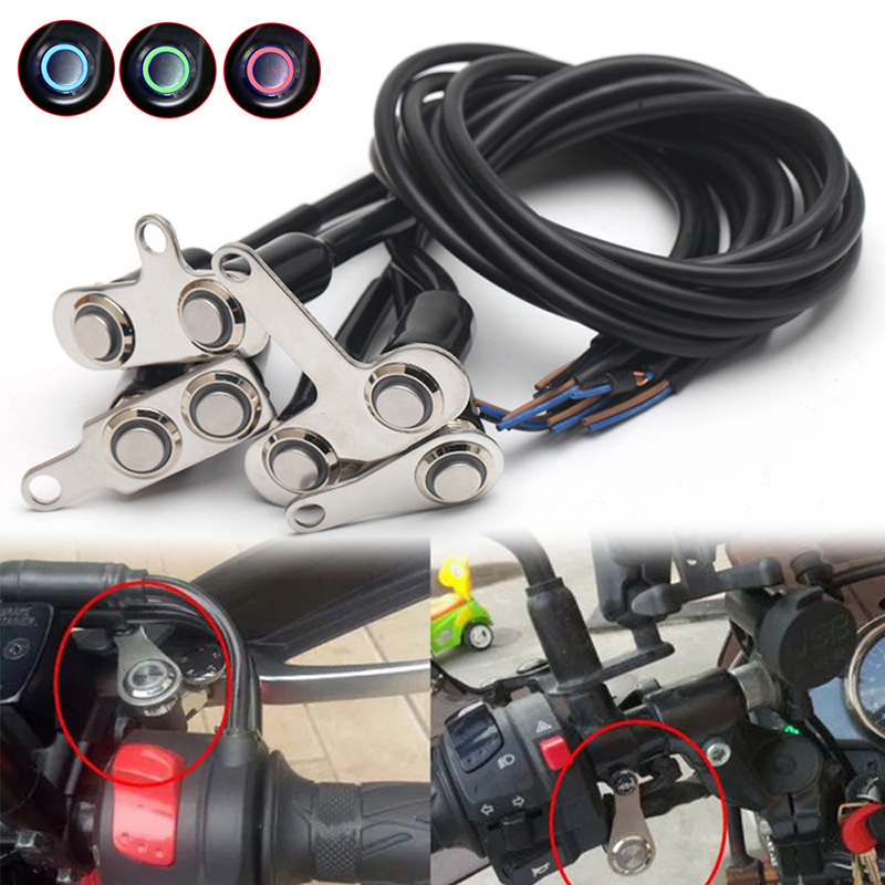 1pcs LED Motorcycle Light Handlebar Mount Push Button Switch 12V For General Hazard Fog Light LED Motorcycle Switch Handlebar
