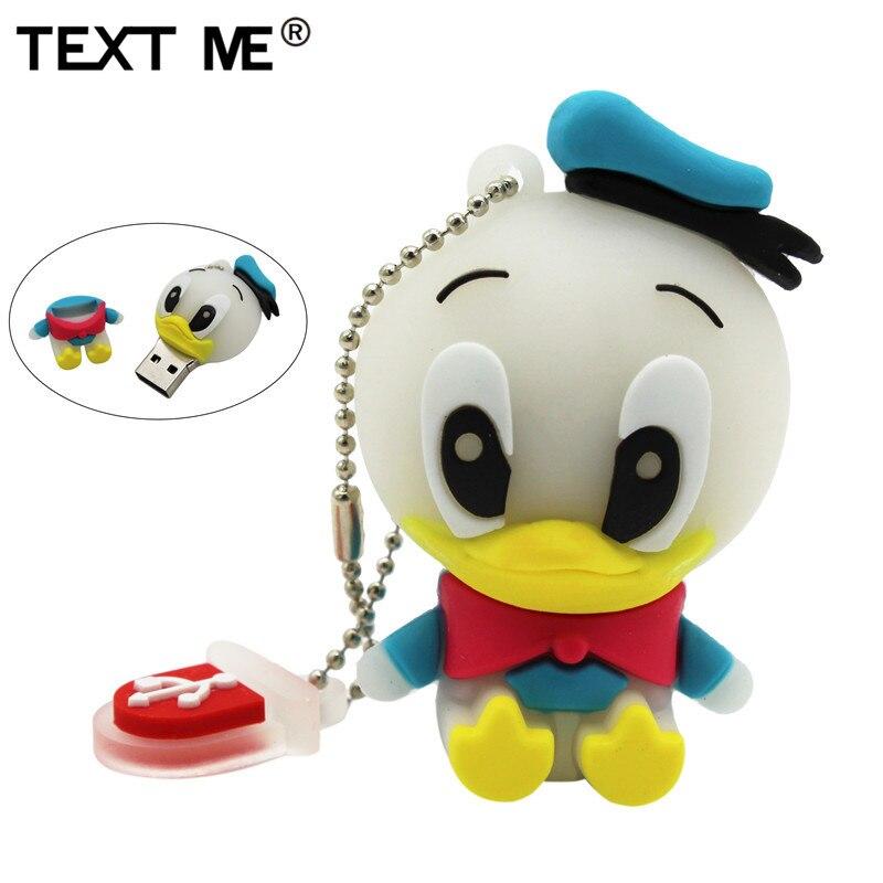 TEXT ME Cartoon Usb 2.0 Animal Mini Duck Style 4GB 8GB 16GB 32GB Pendrive USB Flash Drive Creative Usb Stick 64GB Pendrive