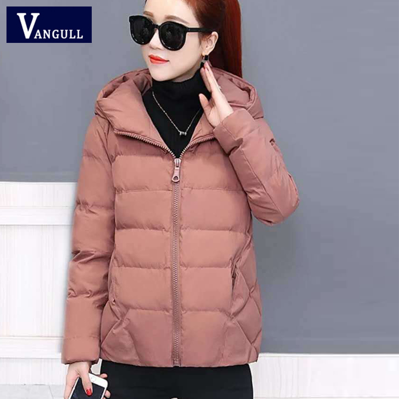 Vangull Winter Women Coat Parkas Solid Hooded Jacket 2019 Casual New Zipper Plus Size Loose Thick Outerwear Long Sleeve coat image