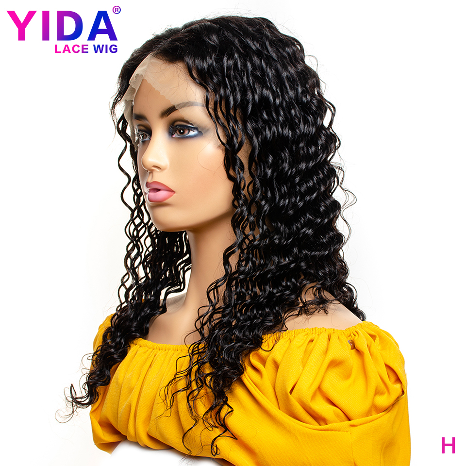 Deep Wave Wig Brazilian Lace Front Human Hair Wigs 150% Density Pre Plucked 13x4 Remy Lace Wigs For Black Women YIDA Wig