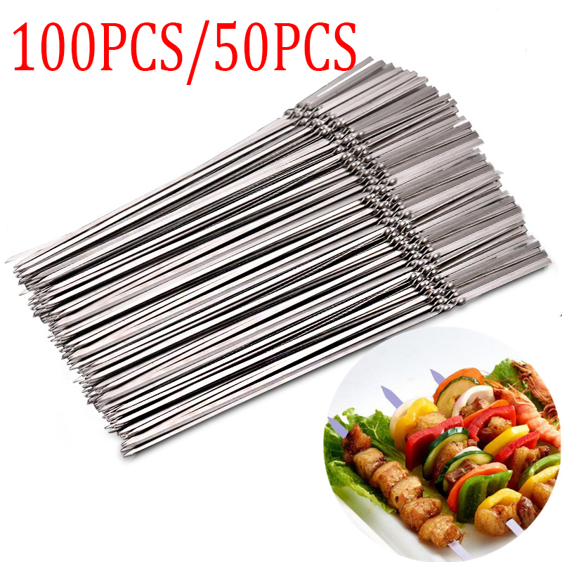 100pcs/50pcs BBQ Tools Barbecue Skewers Thick Reusable Flat Meat Bbq Needle Stick for Outdoor Camping Picnic Barbeque Tool