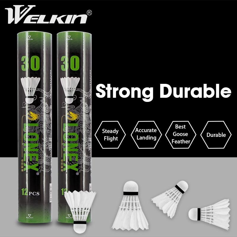 12 pçs pena de ganso peteca badminton esporte ao ar livre peteca branco para o jogo treinamento voando estabilidade bolas duráveis
