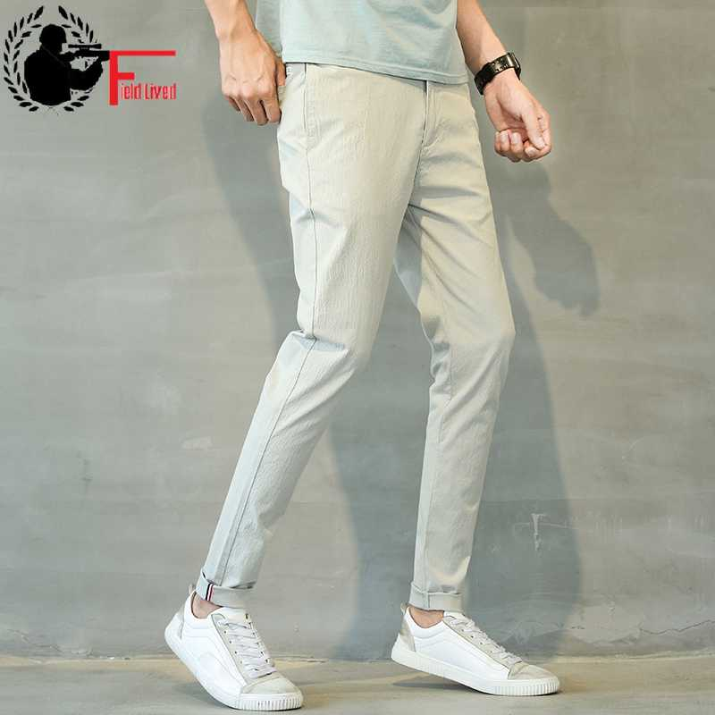 Linen Pants Mens Lightweight Summer Slim Fit Stretch Men Clothes 2020 Korean Street Style Fashion Casual Skinny Trousers Male 38 Skinny Pants Aliexpress