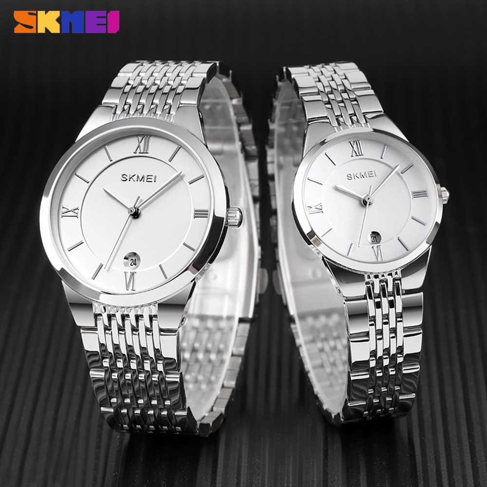 SKMEI Fashion Couple Quartz Watch Luxury Lover's Steel Women Men Waterproof Clock Date Display Bracelet Wristwatch Reloj Hombre