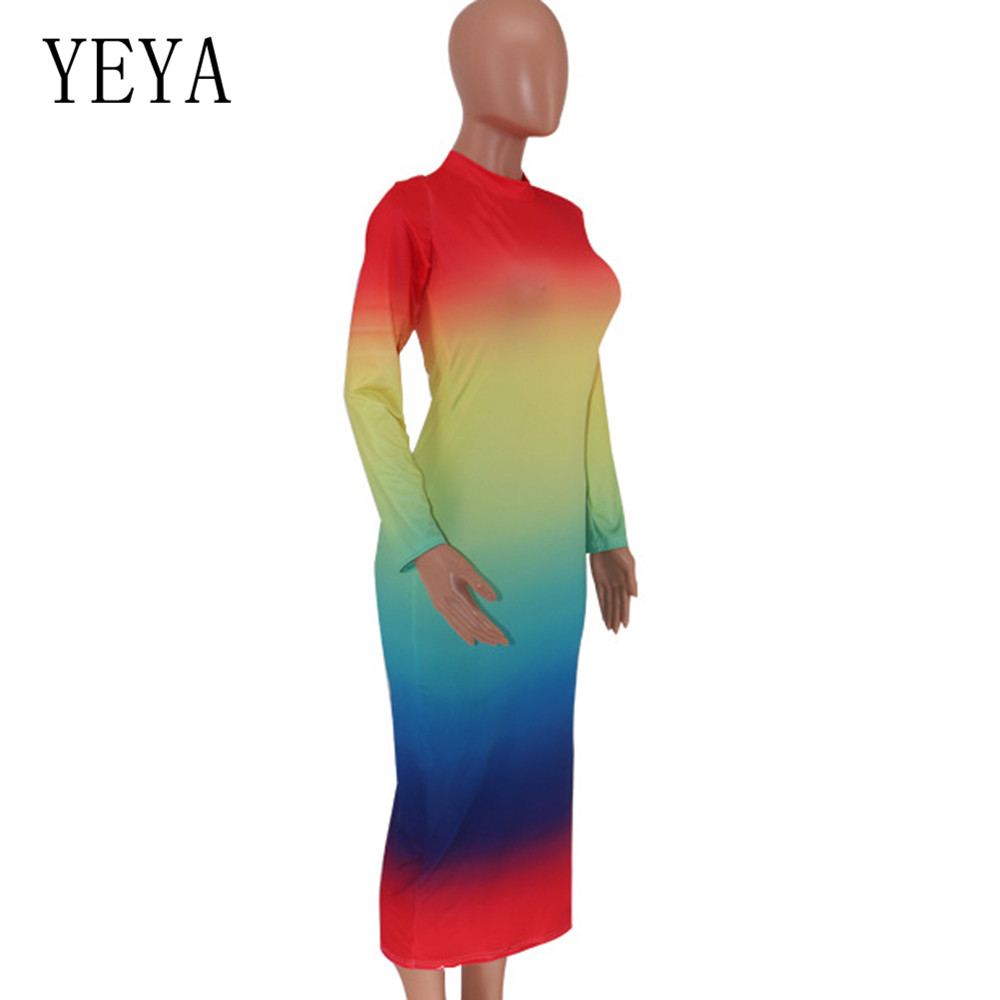 YEYA High Quality Women Sheer Mesh Maxi Dress Vestidos Sexy Long Sleeve See Through Club Party Dresses Femme Hollow Out Mujer in Dresses from Women 39 s Clothing