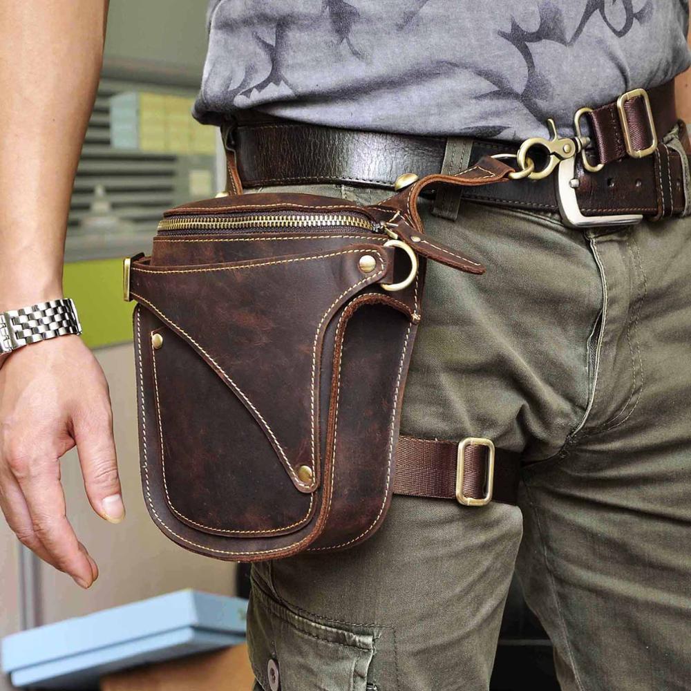 Crazy Horse Leather Hot Sale New Casual Fashion Small Messenger Shoulder Bag Design Fanny Waist Belt Pack Drop Leg Bag 9326-db