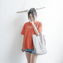 Ladies Letters Gray Chic Eco Shopping Bag Women Pure Cotton Canvas Grocery Shopping Bag Female Foldable Reusable Handbag Tote(China)