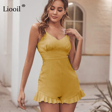 Liooil Yellow Ruffle Bodycon Playsuit Women Sexy Jumpsuit 2020 Sleeveless High Waist Party Club Rompers Womens Jumpsuit Overalls(China)