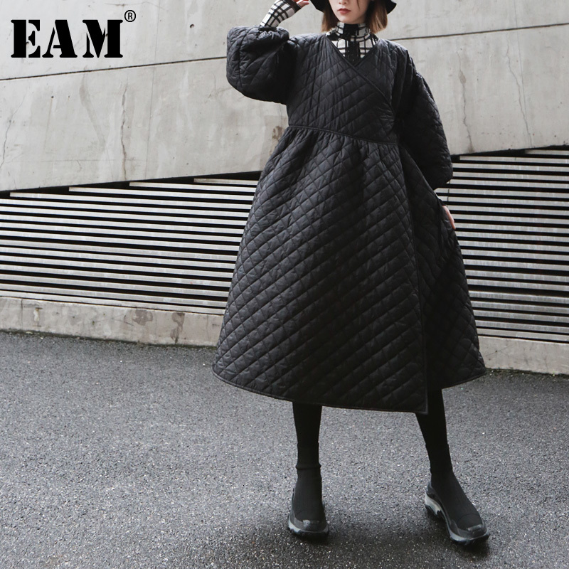 [EAM] Bandage Warm Black Cotton-padded Coat Lantern Sleeve Loose Fit Women Parkas Fashion Tide New Spring Autumn 2020 19A-a327