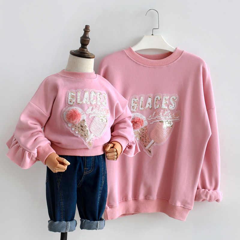 엄마와 나 옷 엄마와 딸 옷 2019 봄과 가을 아이스크림 스팽글 캐주얼 루즈 한 스웨터 까마귀
