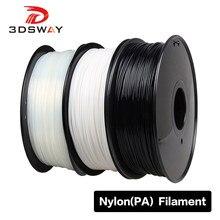 3dsway filamento de náilon 1.75mm material pa 1kg fornece cor sólida de alta resistência dureza consumíveis preto branco transparente