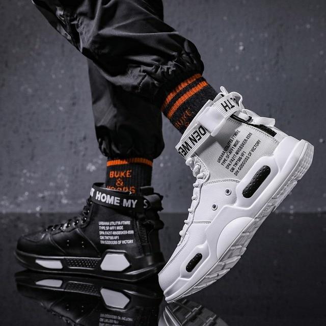 Zapatillas deportivas de tendencia de fondo rojo para hombre, zapatos informales de Hip Hop, tenis, para adultos, otoño 2021 4