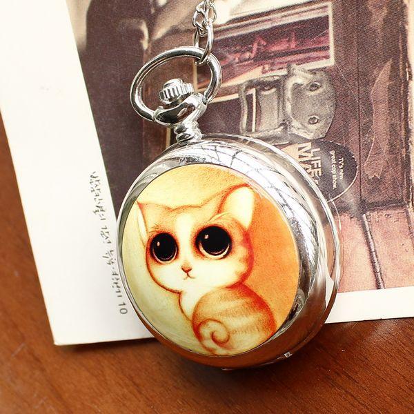 2019 Retro Style Women Pocket Watch Cute Cat Ceramic Pocket Watch Chinese Style Nostalgic Necklace Pocket Watch Relogio Feminino