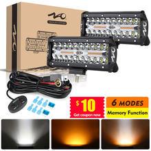 Nao conduziu a luz do trabalho da barra 12v 24v 2 cor 6 modos estroboscópicos de iluminação 4x4 acessórios fora da estrada para caminhões do carro suv automóvel runinng nevoeiro lâmpada